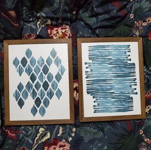 Blue Geometric Watercolour Print Set
